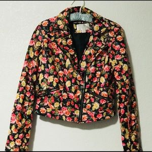 Xhiliration Floral Faux Leather Motorcycle Jacket